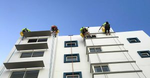 high-rise painters rope access painting on raffles Mooloolaba